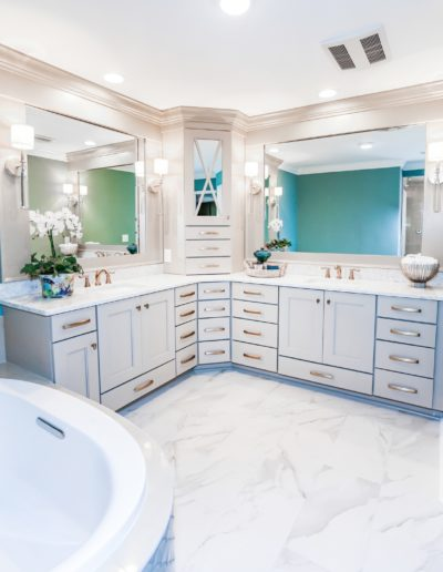 White bathroom with marble floors