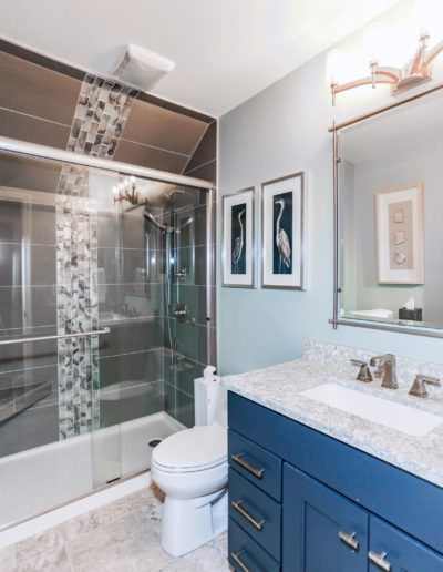 Glass door shower and blue sink cabinets